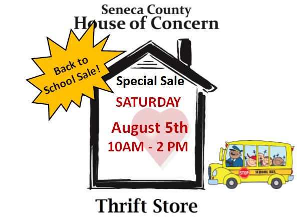 Saturday Back to School Sale at HOC Thrift Store
