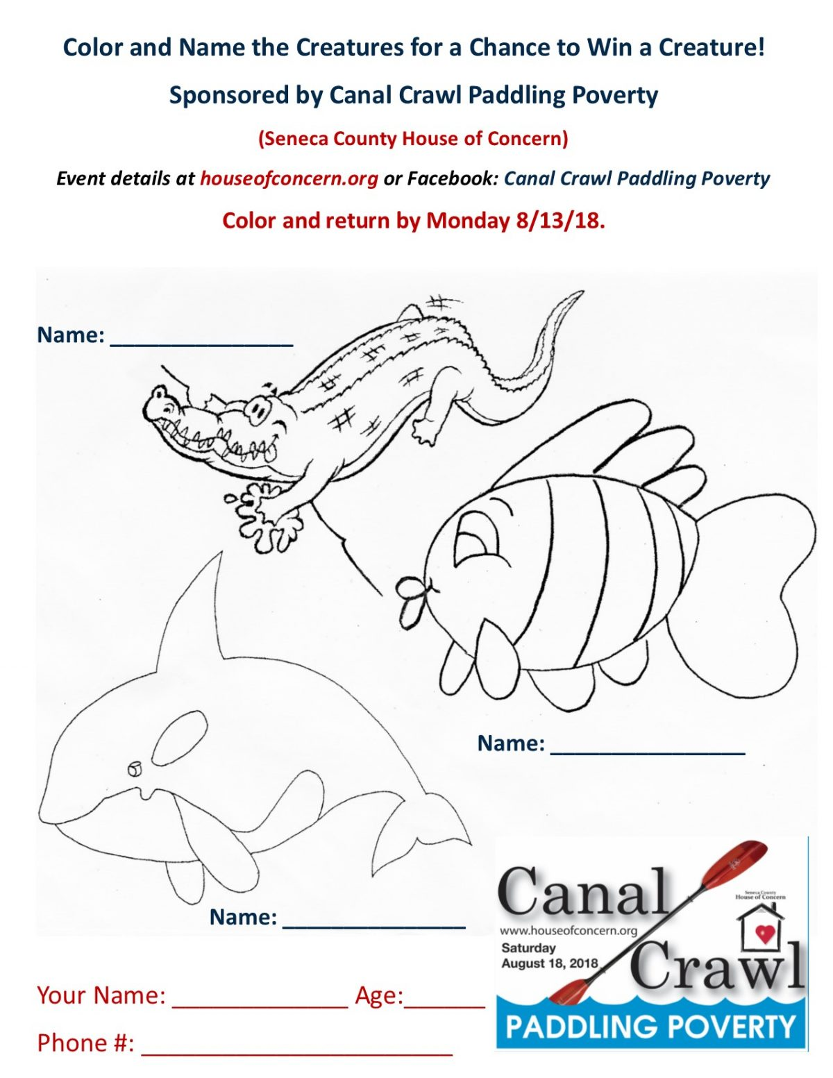 Canal Crawl Coloring Contest Announced
